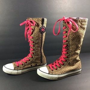Converse all star leopard print boots size 3